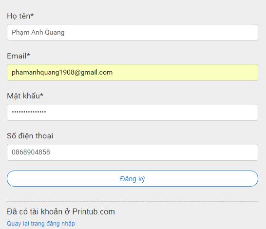 Hướng dẫn đăng ký Printub